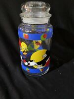 Looney Tunes Tazz Tweety Bird Glass Sylvester Canister Jar With Lid