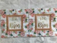 TWO Individual Paper Luncheon Decoupage Napkins quot;HE IS RISENquot; EASTER NAPKINS