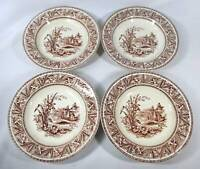 STAFFORDSHIRE BROWN TRANSFERWARE DAFFODIL PATTERN BY GRINDLEY 4 SOUP SALAD BOW