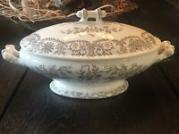 Antique Brown Transferware Tamp;R BOOTE ENGLAND Covered Oval Serving Bowl LAHORE