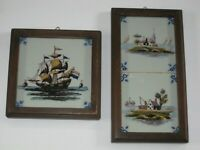 PAIR of Framed Delft Tiles Sailing Ship amp; Landscapes w Houses Boats Water