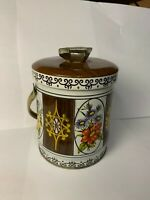 Vintage Murray Allen tin quot;Floralquot; Colorful Handled Made in England Good Used