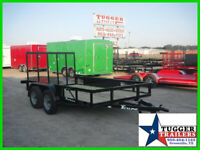 77X12 12Ft Black Ramp Flatbed Utility Pipe Top Equipment Lawn Camp ATV Trailer