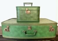 VINTAGE luggage suitcase and makeup case set green color