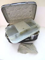 American Tourister Dark Gray Train Case with Tray and Pouch Vintage Luggage VGC
