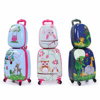 2Pcs Carry On Luggage Kids Rolling Suitcase Backpack w Wheels Travel Trolley ABS