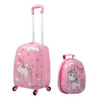 2Pc Carry On 12quot; 16quot;Kids Luggage Set Suitcase Backpack Travel School Trolley ABS