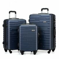 3 Piece Travel Luggage Set Suitcase Blue ABSPC Nested Spinner Wheels w Cover