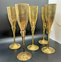 Vintage Set Of 5 Hammered Brass Champagne Flutes 9.5quot; Tall