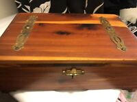 Hand Made Wood Trinket Jewelry BOX Metal Accents Vintage Storage Chest