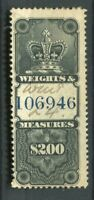 CANADA; Early classic Revenue issue used Weights amp; Measures $200
