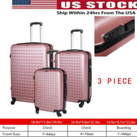 3 Piece Luggage Sets Hard Shell SuitcaseSpinner Wheels ABS Set 20quot; 24quot; 28quot; USA
