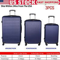 3 Piece Luggage Sets Hard Shell SuitcaseSpinner Wheels ABS Set 20quot; 24quot; 28quot; Fast