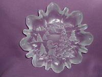 Oval Holiday Christmas Plate Platter Etched Clear Crystal Glass New