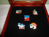 2004 Athens Coca Cola Olympic Pin Set Coke with Wood Frame