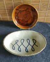 Squeeze Bag Slipware Decorated Bowl Birds Leaves Branches