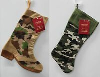 2-SET HIS & HER CAMO CHRISTMAS STOCKING Camouflage Decoration Hunting Army NEW