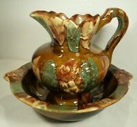 Dryden Ozark Frontier Pottery Basin And Pitcher Signed EXC!