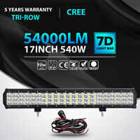 Tri-row CREE 17inch 540W LED Light Bar Combo Offroad Driving 4WD Truck ATV 18