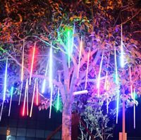 8 Tubes LED Meteor Shower Lights Drop/Icicle Snow Falling Blue White Multicolour