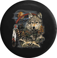 Spare Tire Cover Native American Grey Wolves Dream Catcher for SUV or RV
