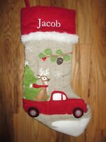 POTTERY BARN KIDS WOODLAND DEER IN TRUCK CHRISTMAS STOCKING Various Names