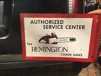 Vintage Metal Remington Chain Saw Outboard Gas Oil Flange Sign Chainsaw 18x12