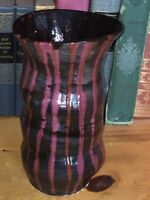 Rustic Heavy Hand Thrown Large Pottery Vase. Purple Magenta Black .9 1 2quot; TALL