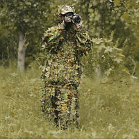 Outdoor Mens Forest Leaves Camouflage Costumes Jungle Hunting Clothing Suit US