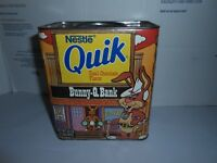 ULTRA RARE VTG NESTLE QUIK EMPTY 2 LB TIN CONTAINER BUNNY Q BANK COIN SLOT UNCUT