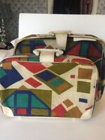 Pair Vintage Mod Wild Fabric Suitcases 1960 Squares Teal Red Japan