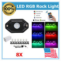 8X Led Rock Light Bluetooth Music RGB Color Fits Under Car JEEP SUV ATV RZR UTE