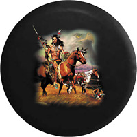 Spare Tire Cover American Bald Eagle Native American Indian Horses for SUV or RV