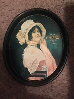 Coca Cola Vintage Tray Collectable Serving Metal Oval Tray 1914 Betty Girl