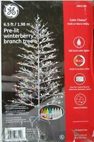 NEW- GE 6.5ft Winterberry White Artificial Christmas Tree w/ 200 LED Lights