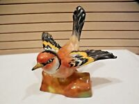 VINTAGE CROWN STAFFORDSHIRE GOLDFINCH BIRD FIGURINE SITTING ON LOG