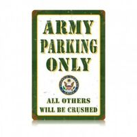 US ARMY Parking Only Vintage Metal Sign hand made in the USA 12 x 18 inch metal