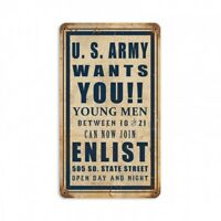 US ARMY Wants YOU vintage Metal Sign hand made in the USA 8 x 14 inch metal