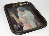 1973 Vintage Coca Cola Tray  with 1925 woman with fur shawl advertising image