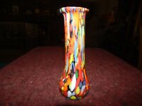 CZECH ART CASED SPATTER GLASS VASE ART DECO KRALIK(?)