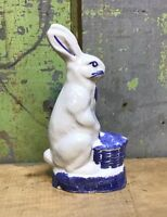 "Shard Pottery Rabbit Maine 6-3/4"" Tall, Blue White Spongeware"