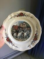 Sarreguemines Obernai Pattern Large Dinner Plate Village Men Riding Horseback