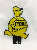 Vintage Yellow Tydol Oil Can Man/ Fat Man Tag Topper License Plate Metal Sign