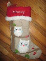 RED CUFF POTTERY BARN KIDS Woodland Owl CHRISTMAS STOCKING MOMMY