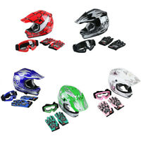 S/M/L/XL DOT Safety Youth Kids Dirt Bike ATV Helmet W/ Goggles Gloves 5 Colors