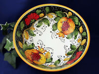 Tuscany Italy Italian Pottery Tuscan Fruit & Poppies Serving Bowl Pasta Bowl