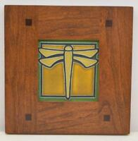 Framed Arts and Crafts Motawi 4x4 Dragonfly Tile Morris Cherry Frame E505