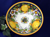 Tuscany Italy Italian Pottery Lemons Flowers Serving Bowl Pasta Bowl
