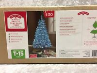Holiday Time Turquoise Teal Blue 4' Pre-Lit Tree White Lights Christmas