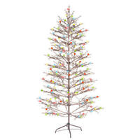 NEW- GE 6.5ft Brown Winterberry ChristmasTree w/ 200 Sugar Plum LED Lights